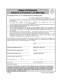 Affidavit of Common Law Marriage Sample Form- Colorado Free Download