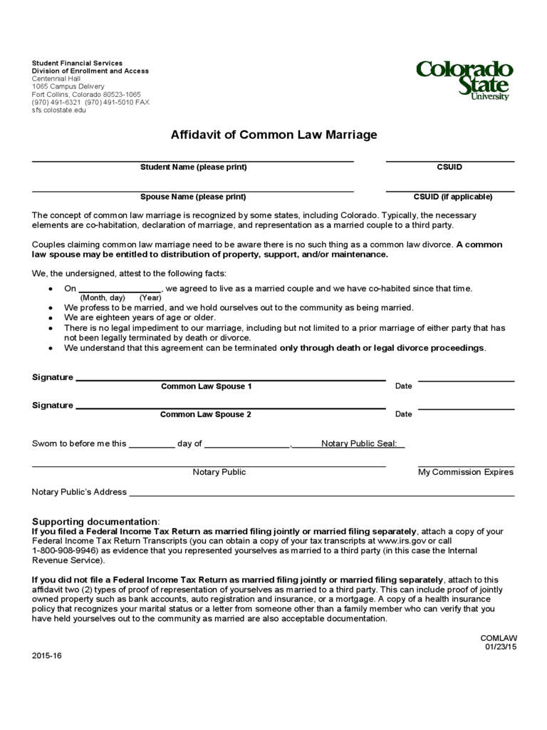Affidavit Of Common Law Marriage 9 Free Templates In Pdf Word