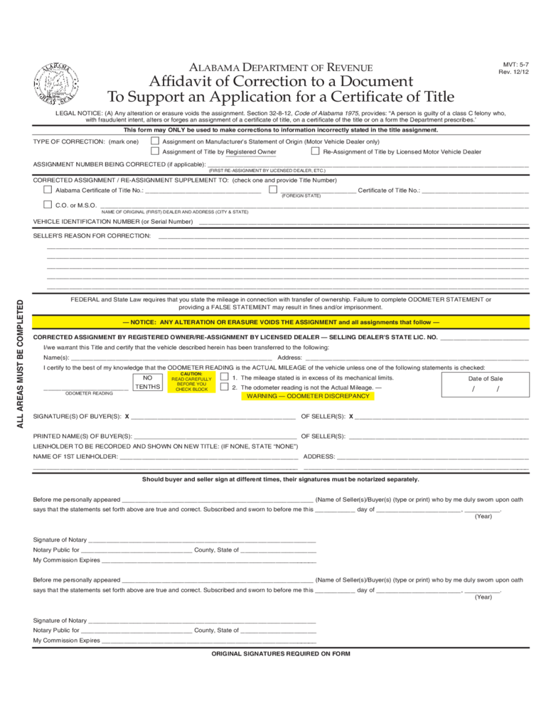 Affidavit To Support an Application for a Certificate of Title