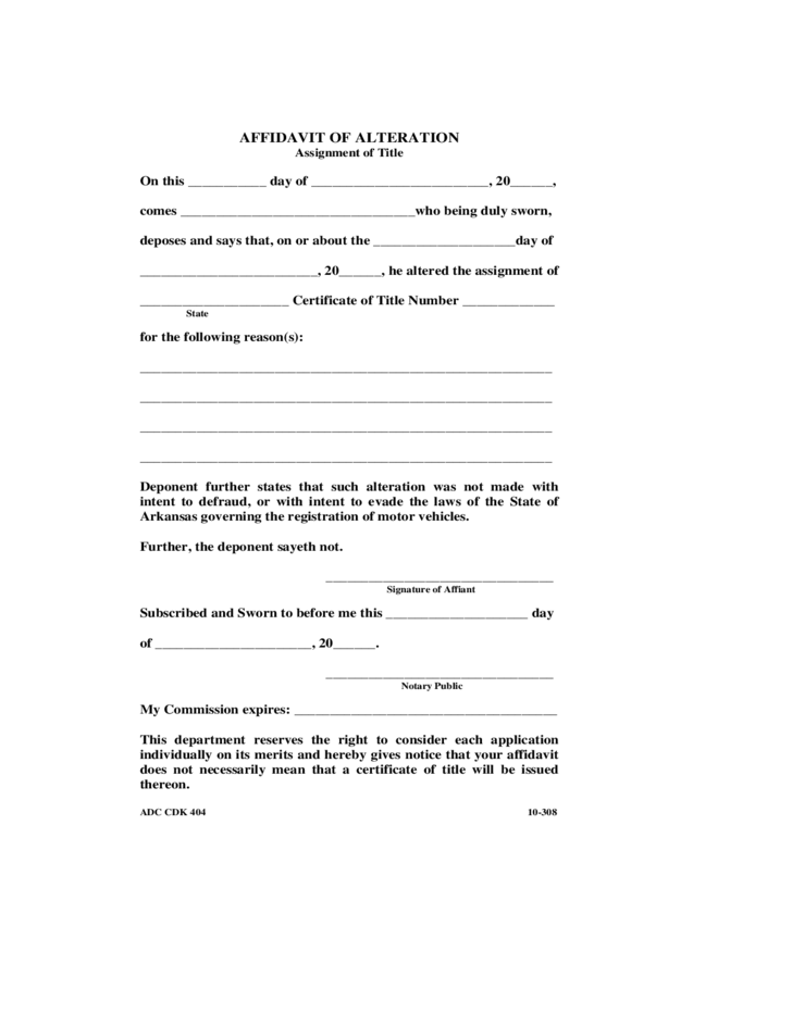 Affidavit of Alteration Free Download