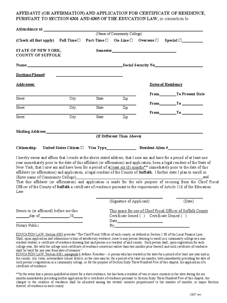 Affidavit of domicile 16 free templates in pdf word excel download county of suffolk affidavit and application for certificate of residence altavistaventures Image collections