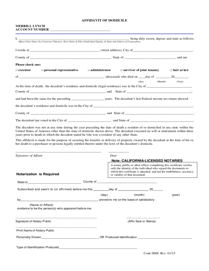sample-affidavit-of-domicile-l1 Power Of Attorney Form Wa on acknowledgment form, power of appointment form, contract form, easement form,