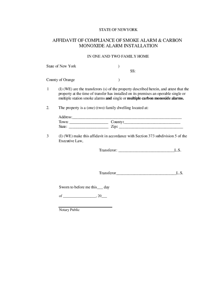 Affidavit of Smoke Alarm and Carbon Monoxide Alarm Installation