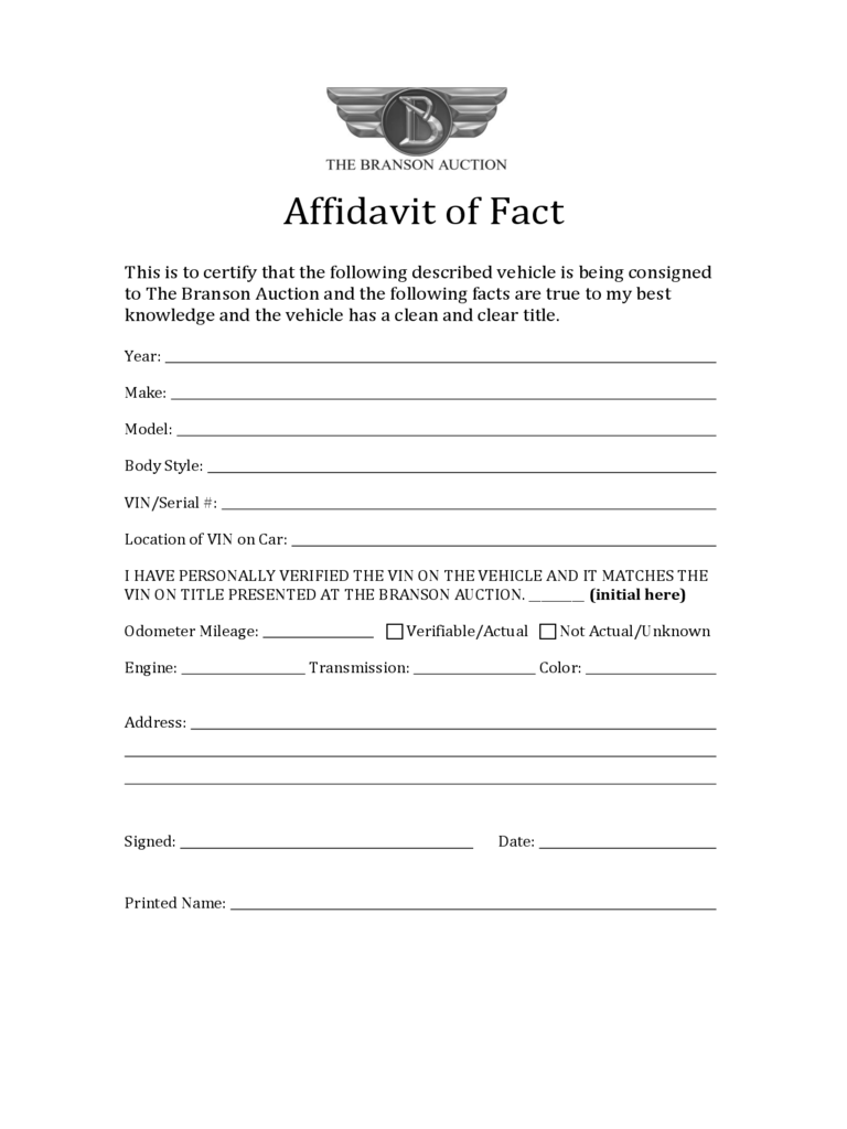Affidavit of Fact - Branson Auction