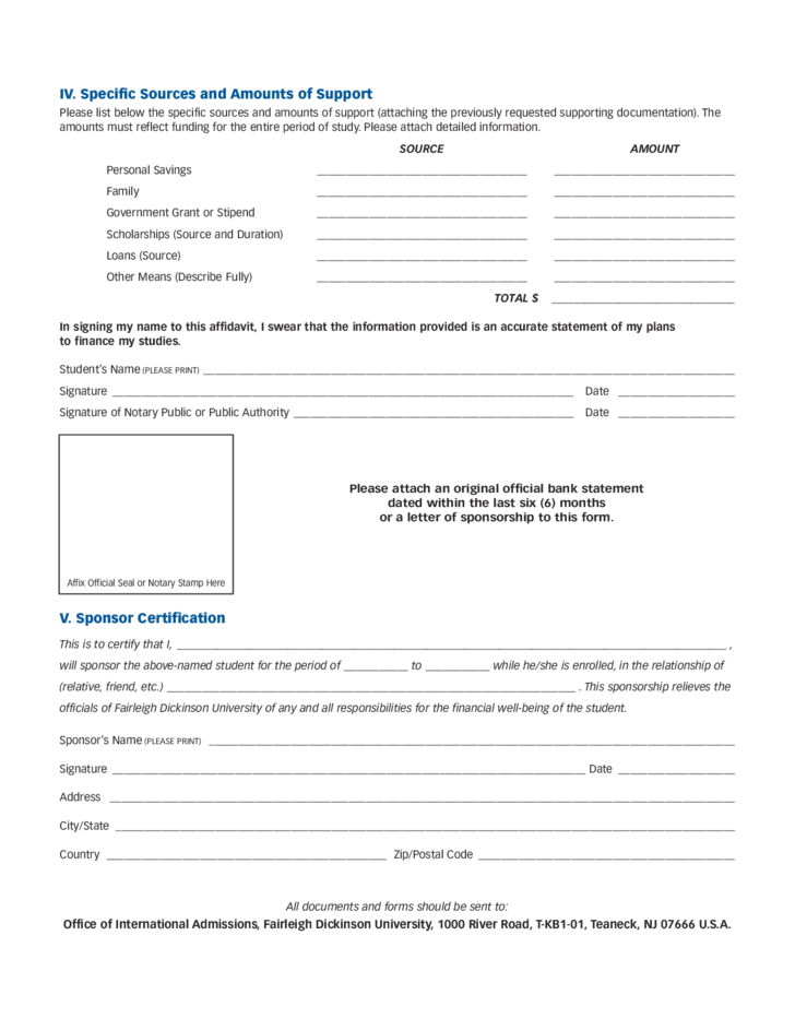 Affidavit Of Financial Support Form New Jersey Free Download