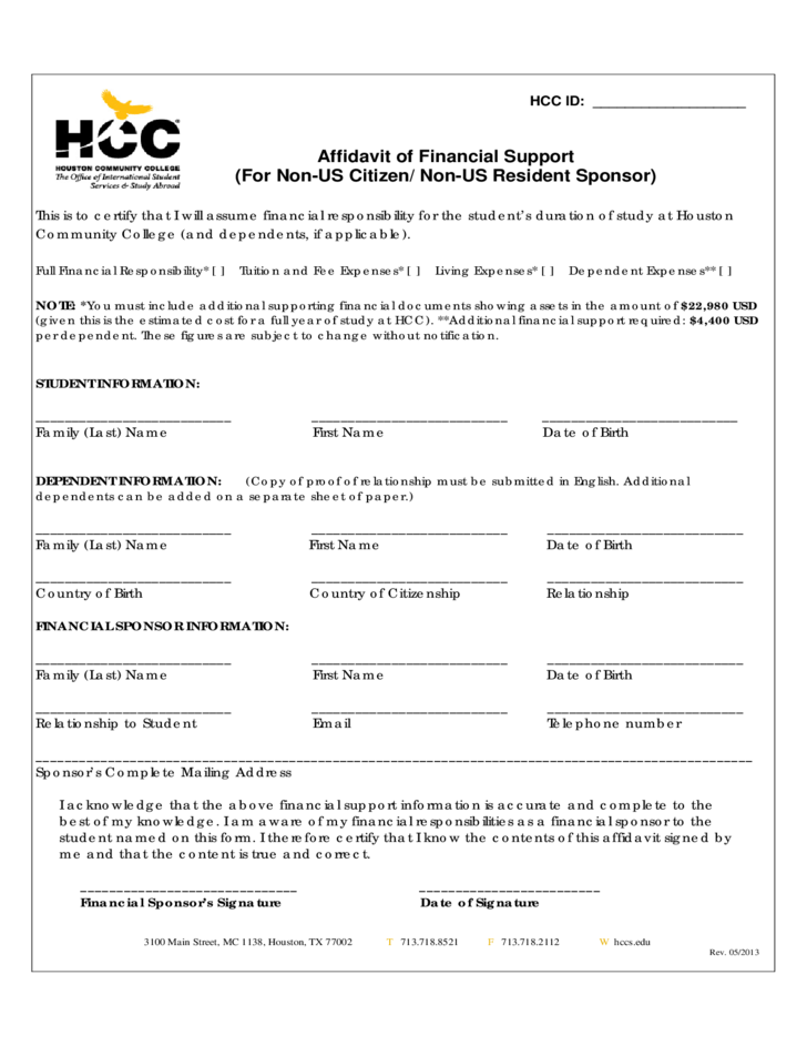 Affidavit of Financial Support Form - Houston Community College ...