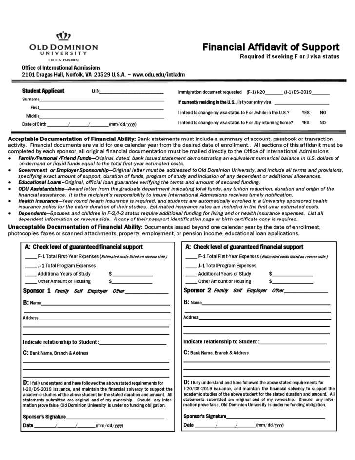 Financial Affidavit of Support - Virginia Free Download