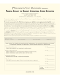 Financial Affidavit for Graduate International Student Application - Minnesota