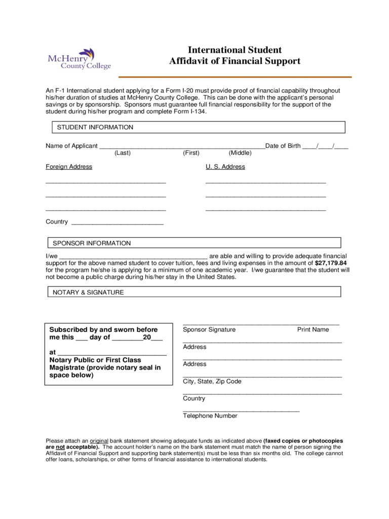 International Student Affidavit of Financial Support - McHenry County College