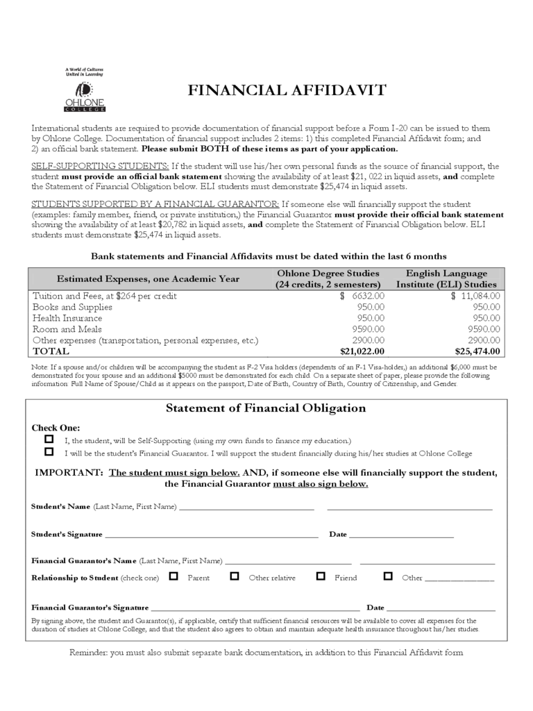 Financial Affidavit - Ohlone College