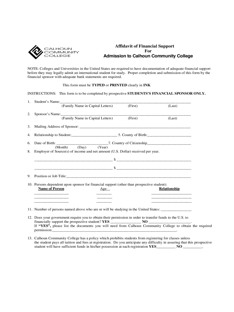 Affidavit of Financial Support - Calhoun Community College