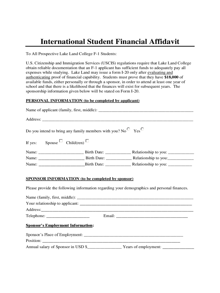 International Student Financial Affidavit - Lake Land College