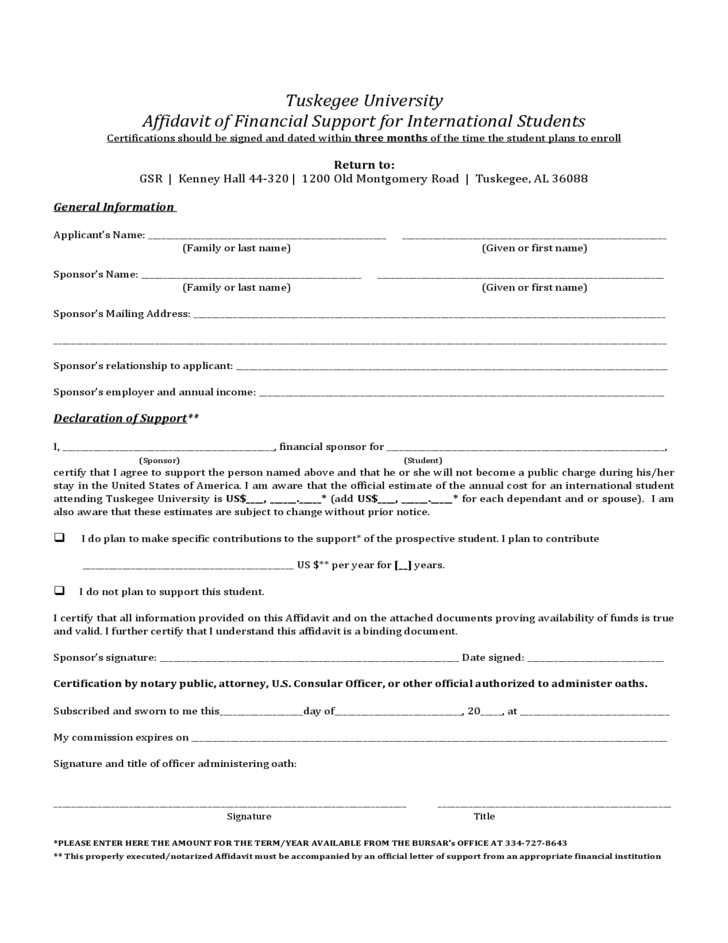 Sample Affidavit Of Support Letter For International Student – Affidavit of Support Letter