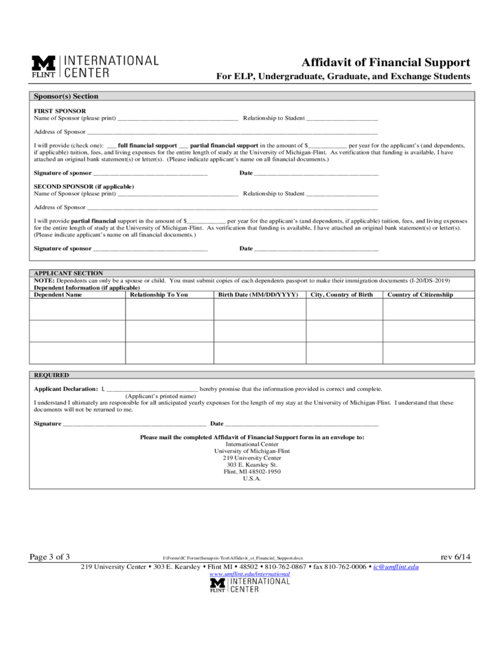 Affidavit of Financial Support Form - Michigan Free Download