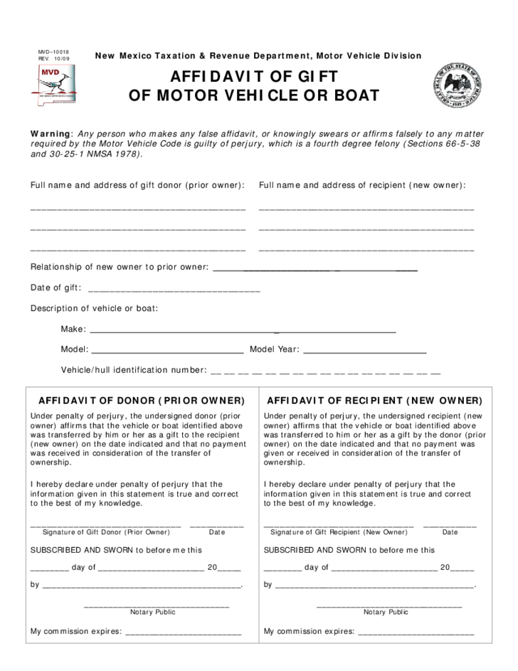 Gift affidavit form new mexico free download for Affidavit of gift of motor vehicle