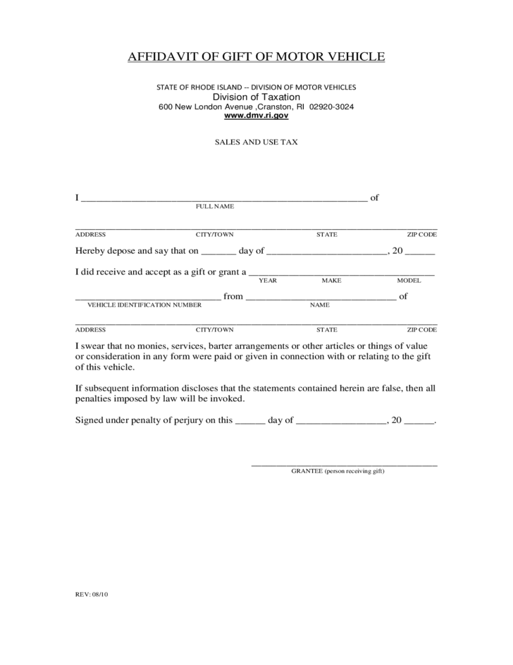 affidavit of gift of motor vehicle rhode island free