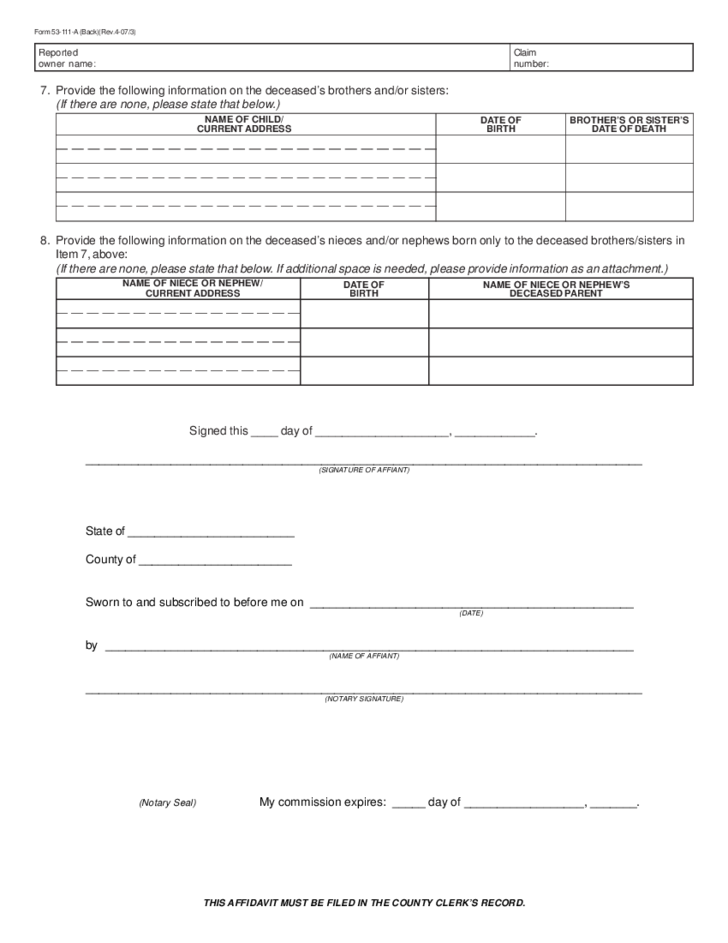 Affidavit of Heirship Form - Texas Free Download