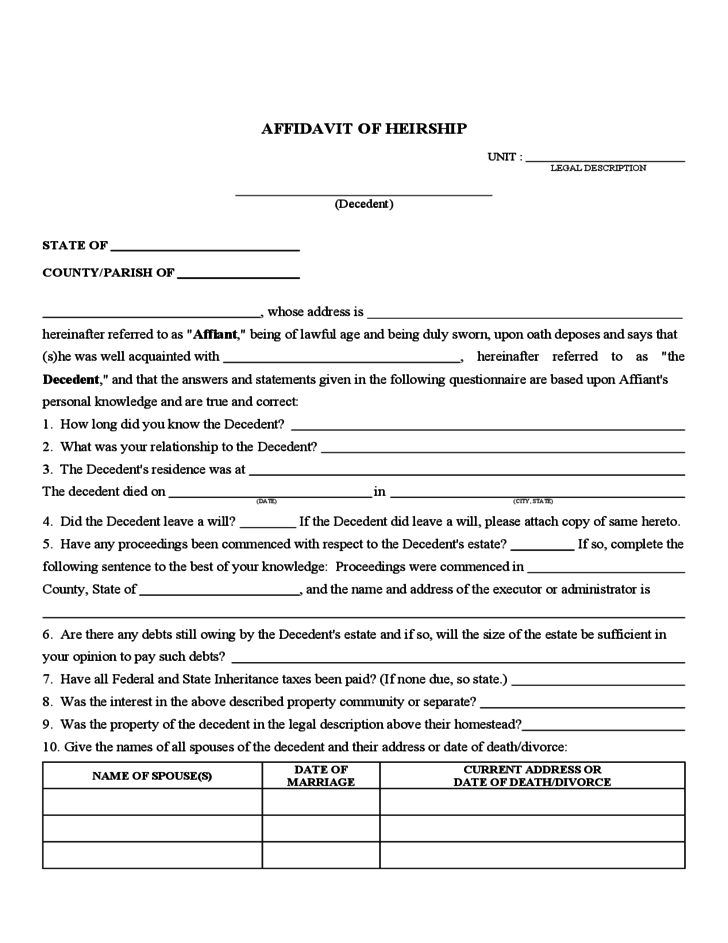 affidavit of heirship form sample free download