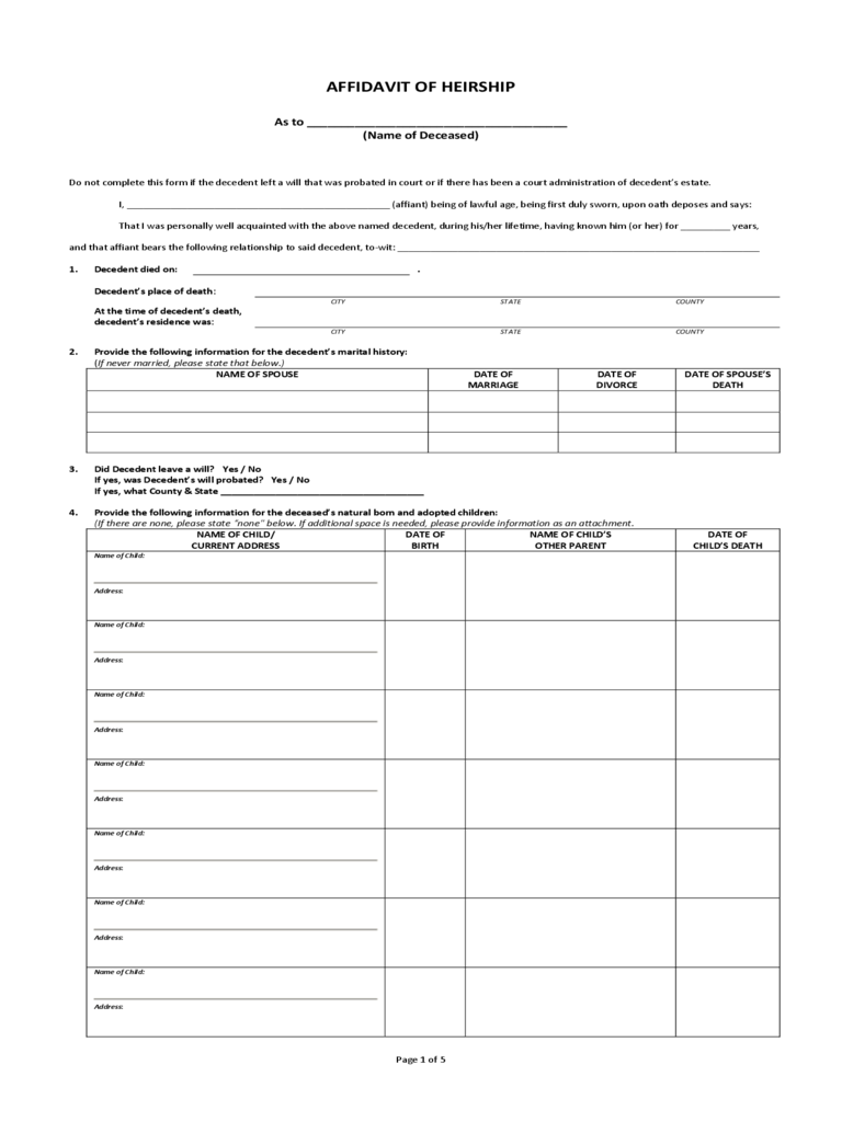 Affidavit Of Heirship 15 Free Templates In Pdf Word