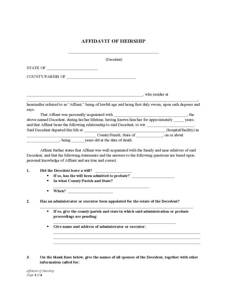 Affidavit Of Heirship   Mewbourne Free Download  Free Printable Affidavit Form