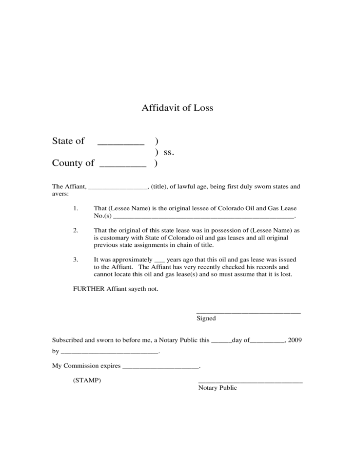Affidavit of Loss Colorado Free Download – Affidavit of Loss Template