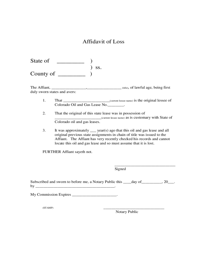 affidavit of loss sample template free download