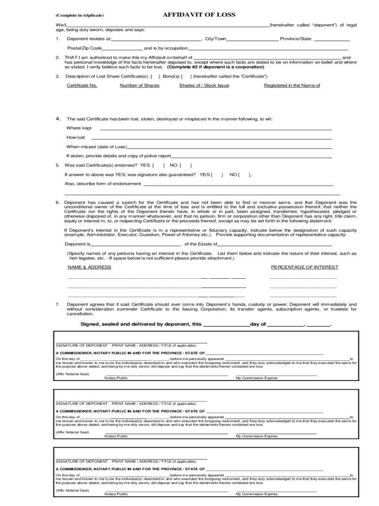 Affidavit Form 303 Free Templates in PDF Word Excel Download – Affidavit of Loss Template