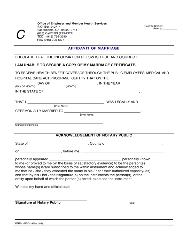 Affidavit of Marriage - California