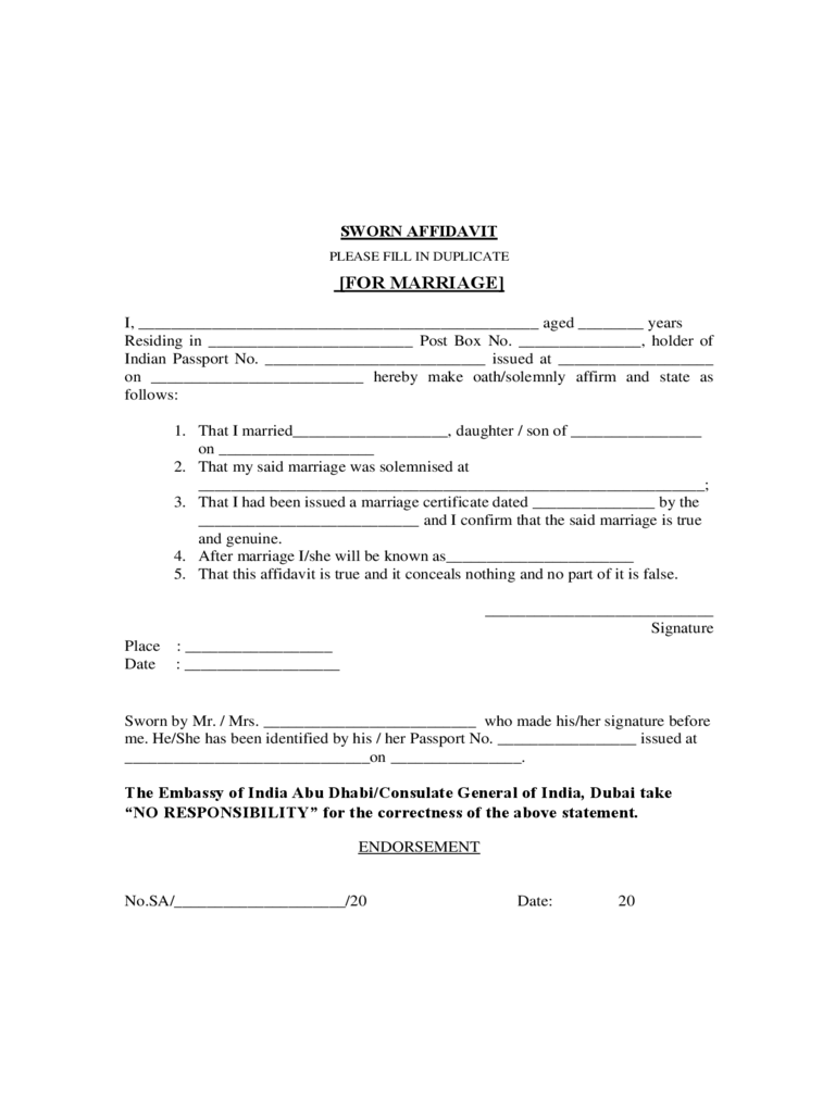 Affidavit of Marriage Template