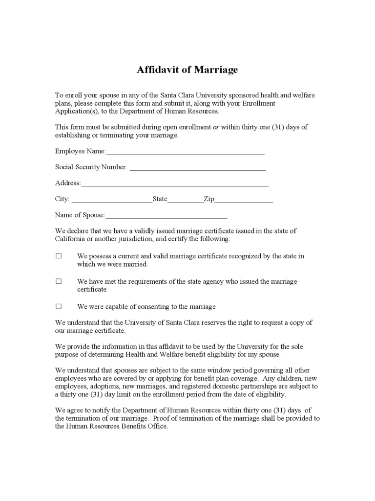 Affidavit of Marriage - Santa Clara University