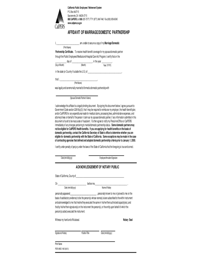 Affidavit of Marriage or Domestic Partnership - California