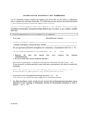 Affidavit of Common Law Marriiage - Kansas
