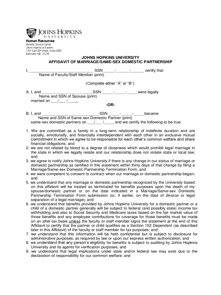 Affidavit of Marriage/Same-Sex Domestic Partnership - Johns Hopkins University