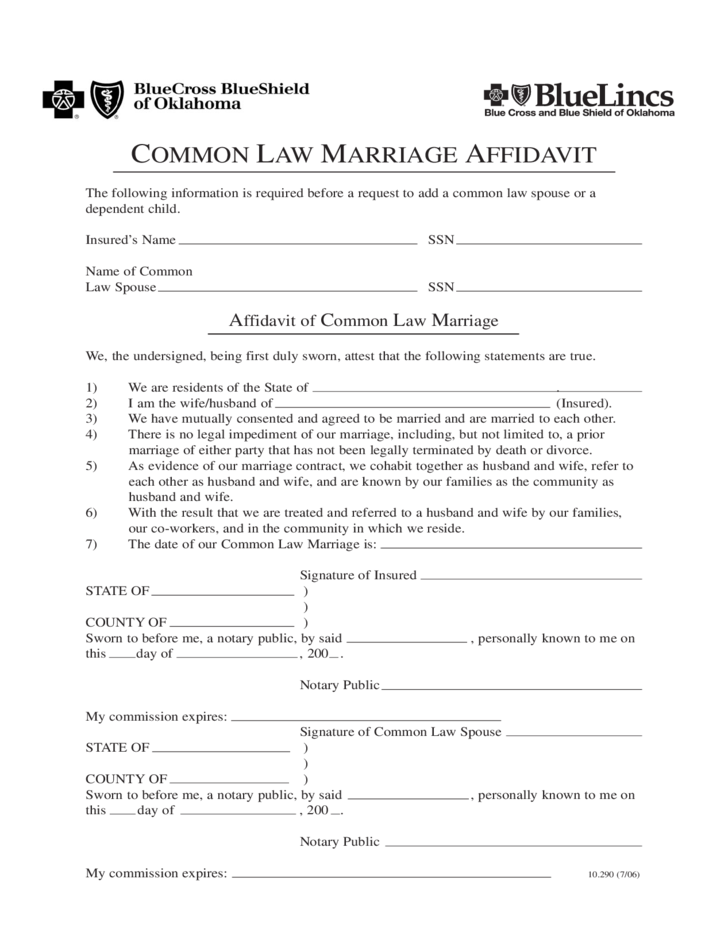 Common Law Marriage Affidavit Oklahoma Free Download