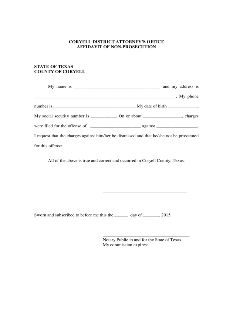 AFFIDAVIT OF NON  PROSECUTION   Coryell County  Free Printable Affidavit Form