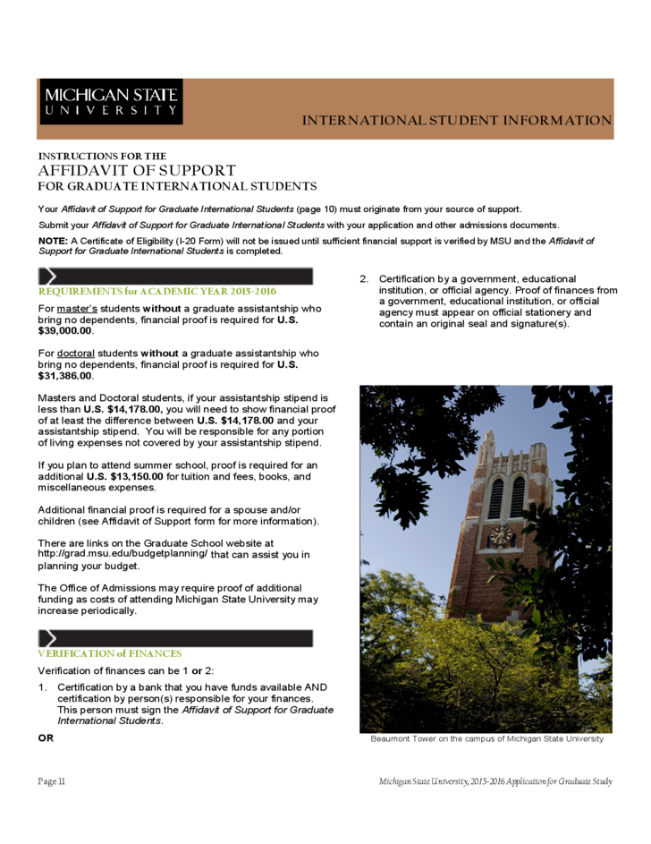 Affidavit of Support for International Applicants - Michigan State University