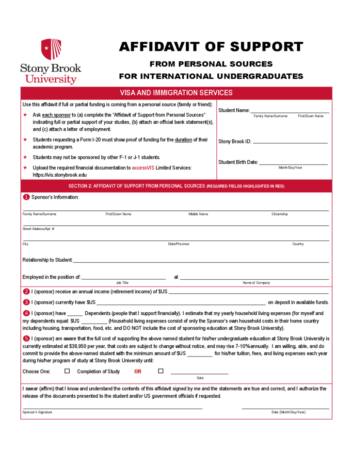 Affidavit of Support Forms - Stony Brook University