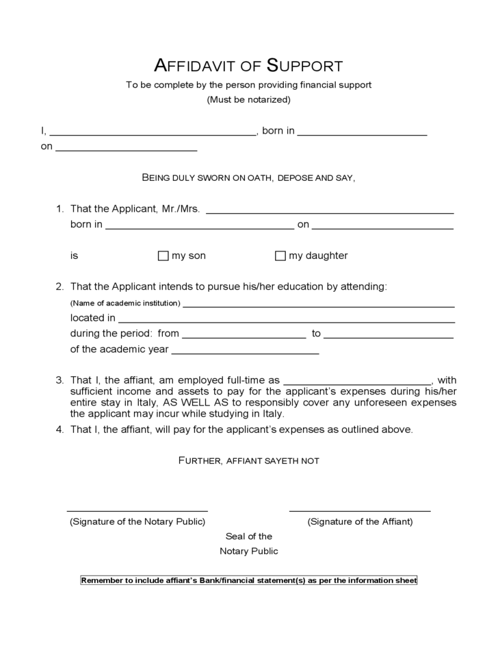 Sample Affidavit of Support Form