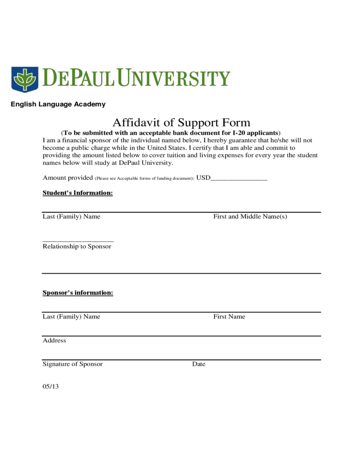 Affidavit of Support Form DePaul University Free Download – Affidavit of Support Form