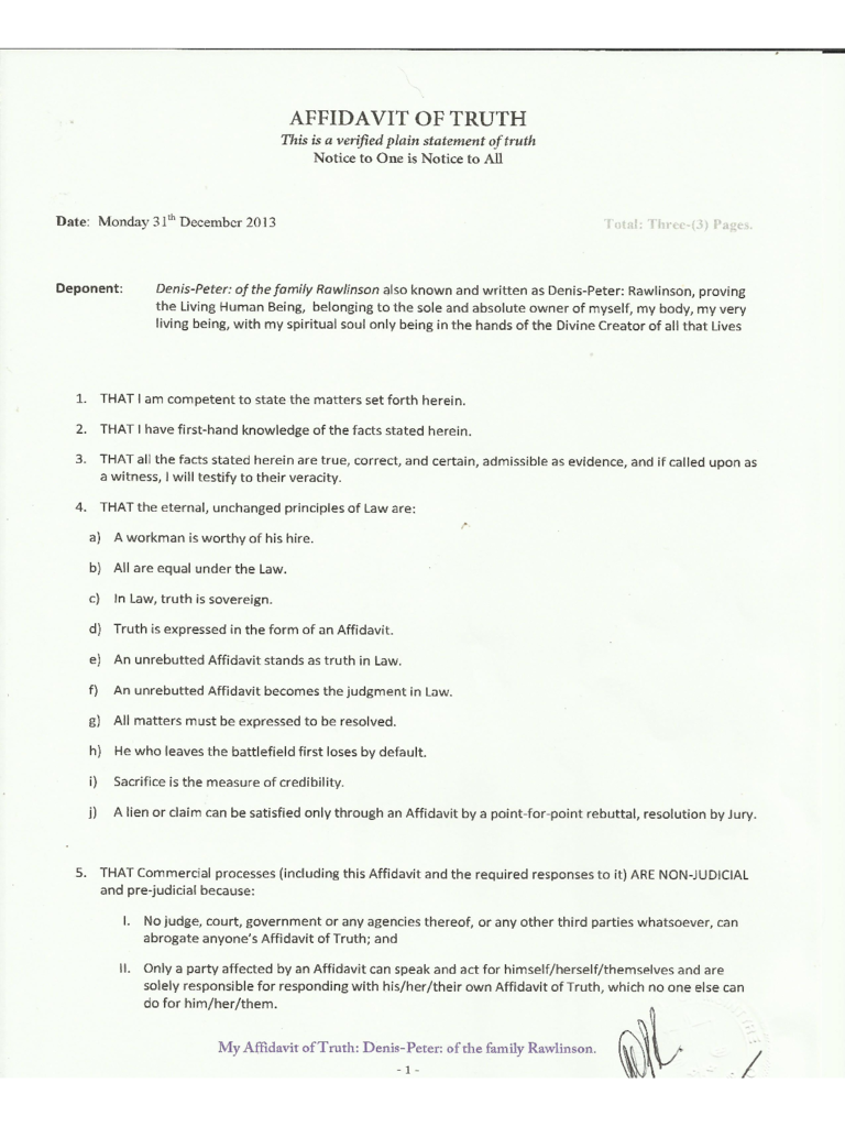 Affidavit Of Truth Format  Free Affidavit Form Template