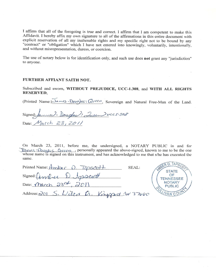 Sovereign Affidavit Of Truth Tennessee Free Download