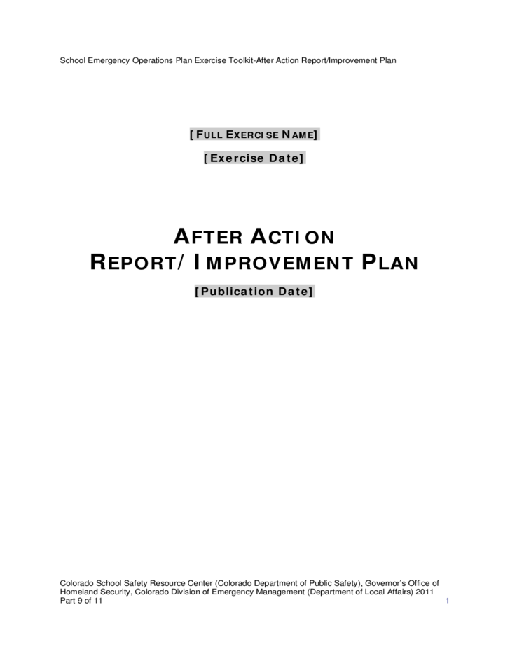 After Action Report and Improvement Plan Template