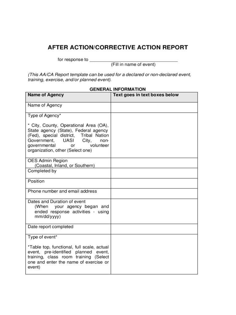 After Action And Corrective Action Report Template