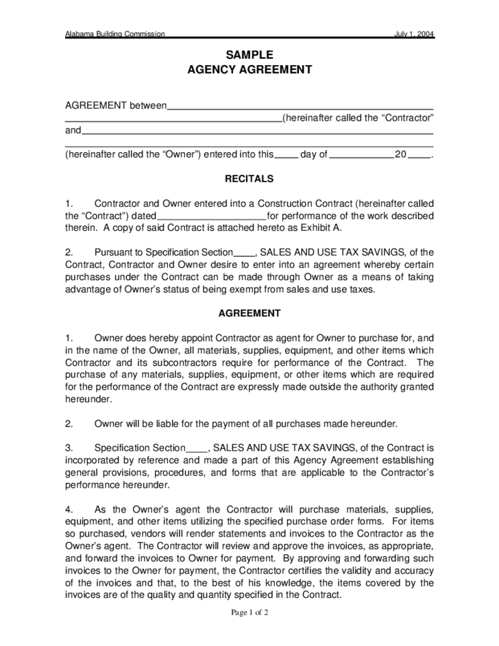 1 Agency Contract Template For Alabama