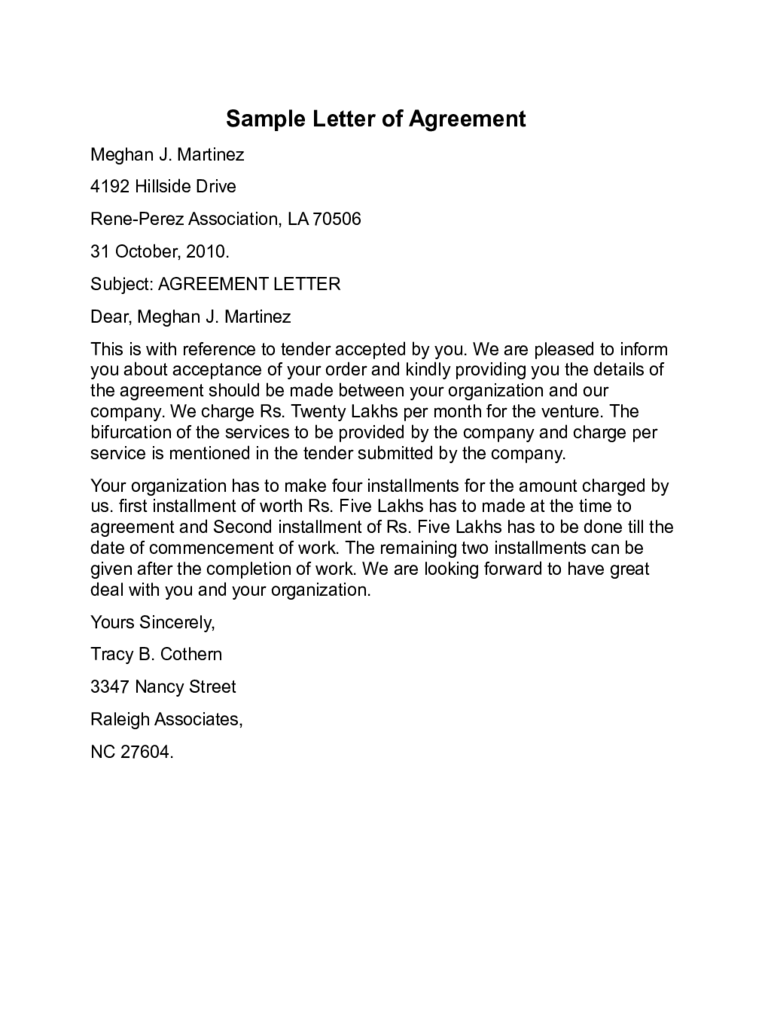 letter of agreement agreement letter templates 10 free templates in pdf 22928 | letter of agreement example d1