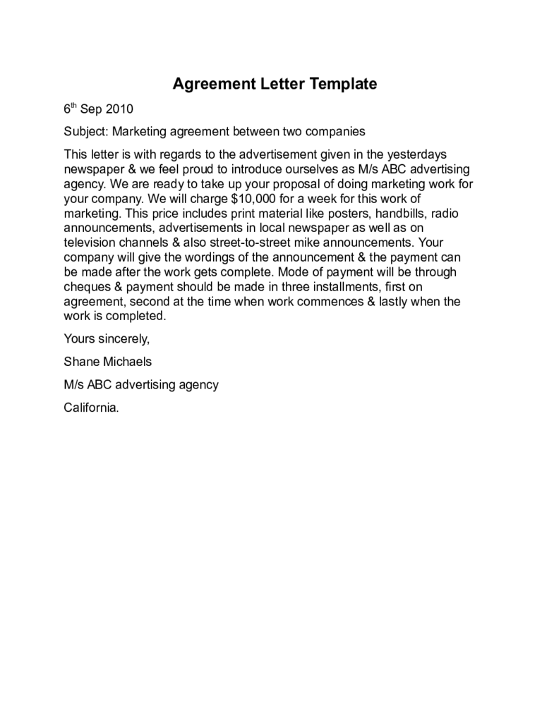 agreement letter templates