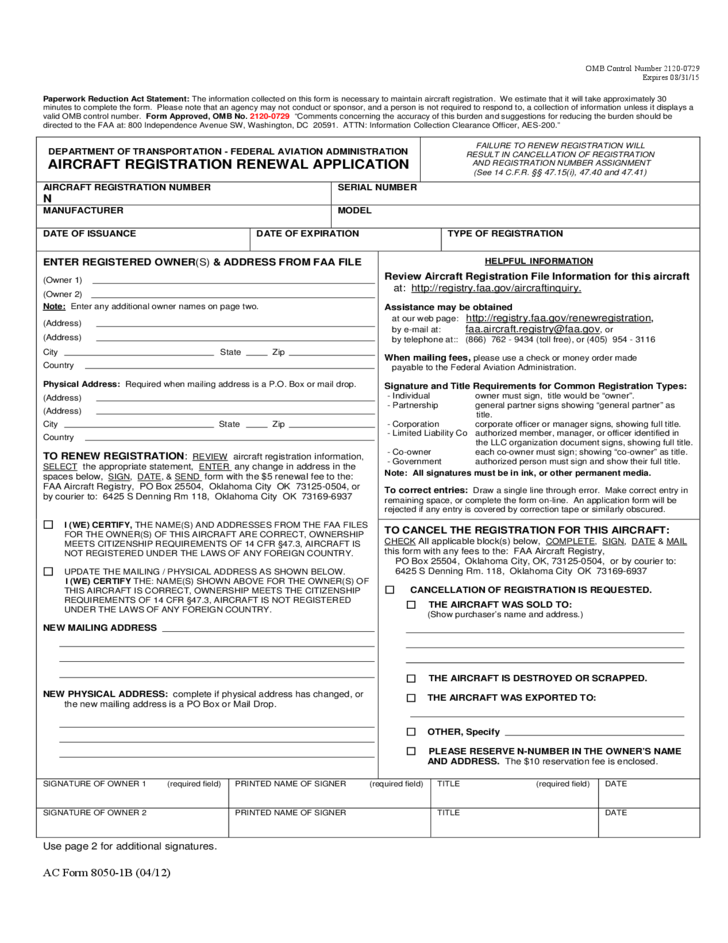 Aircraft Registration Renewal Application Form Free Download