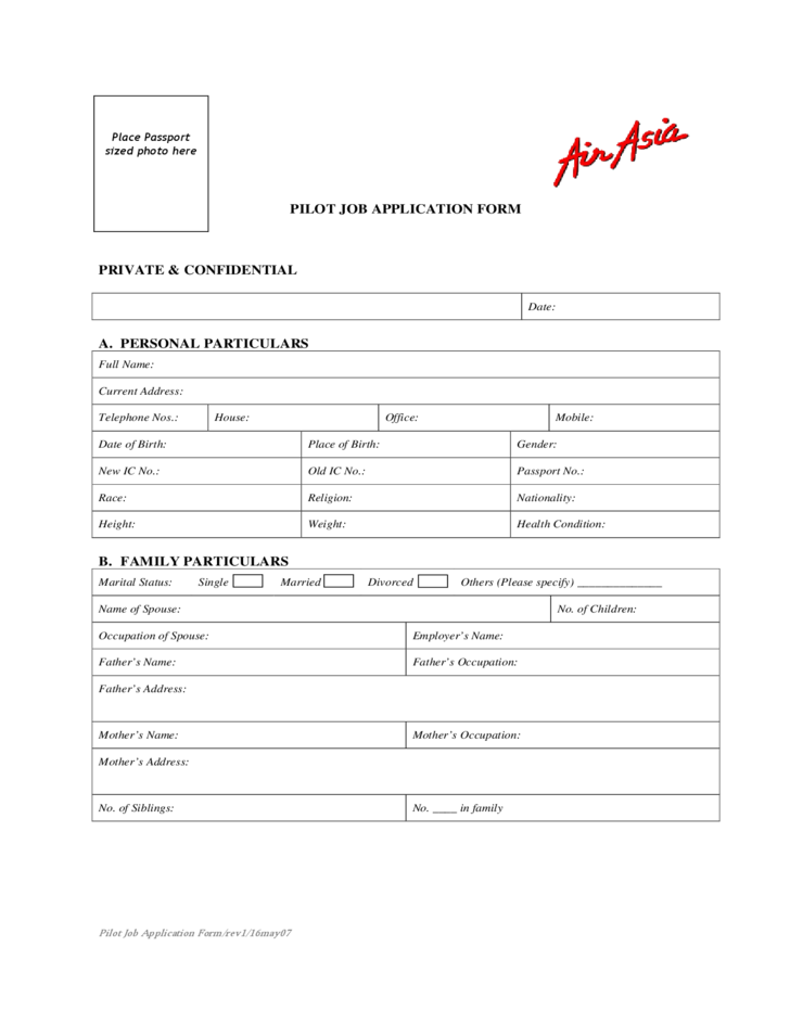 Airline Job Application Form