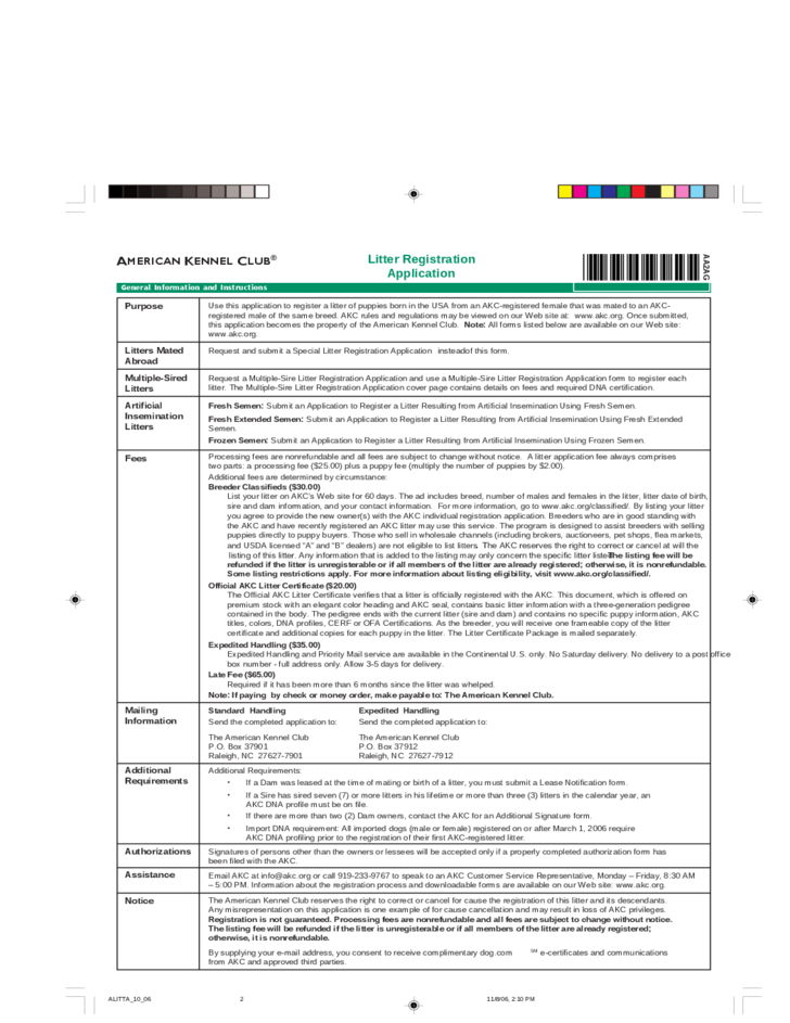akc litter registration application free download