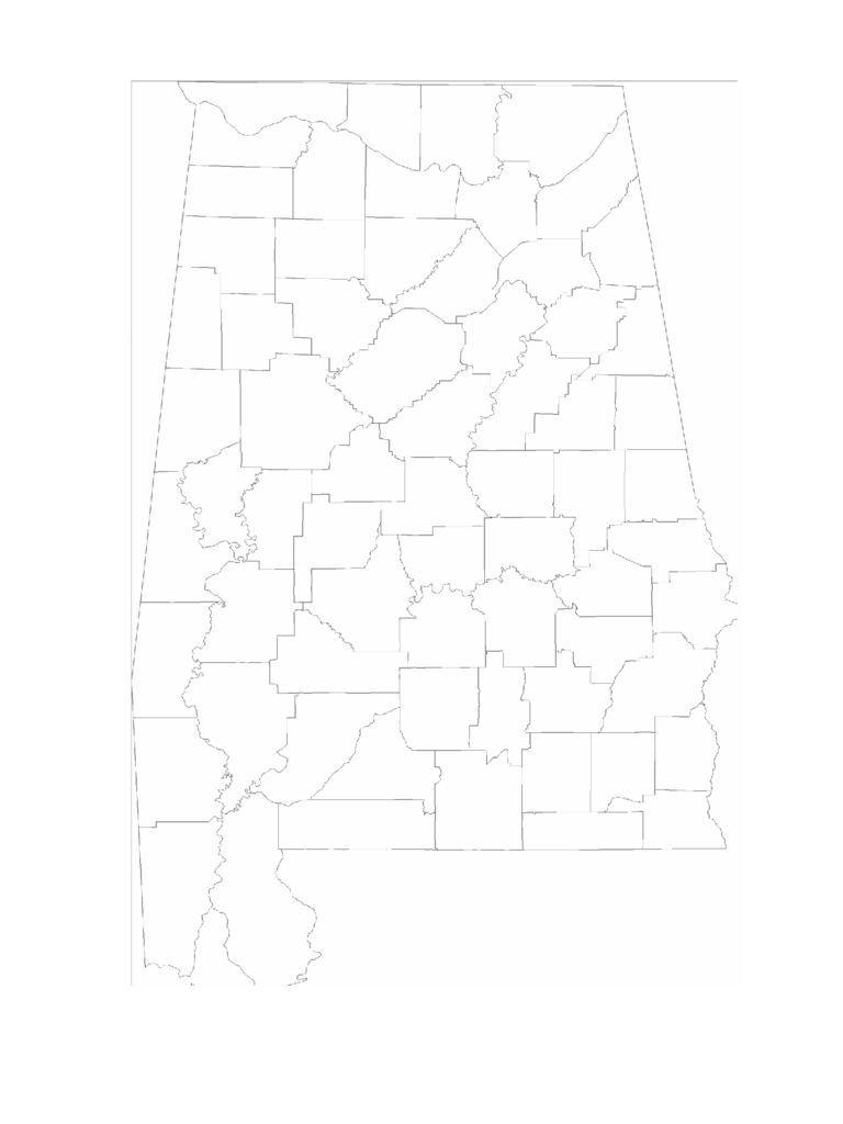 Blank Alabama County Map